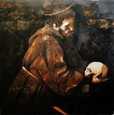 """""""Franziskus"""", 100x100cm, Stahl geschliffen, Transparentfarbe, Rost, 2002"""