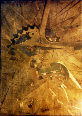 """o.T."", 1993, 70x100x5cm, Aluminium geschliffen, Transparentfarbe"