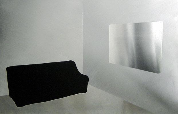 """""""o.T."""", 50x70cm, Alu geschliffen, Acrylfarbe, 2007"""