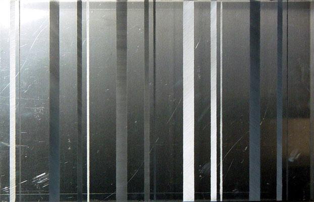 """I II IIIII"", Aluminium geschliffen, 50x70, 2007"
