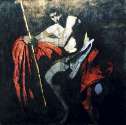 """Johannes der Täufer"", 2002, 1x1m Stahlblech, Transparentfarbe"