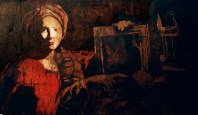 """silence is sexy"", 2002, 117x69cm, Stahlblech verrostet, Salzsäure, Transparentfarbe"