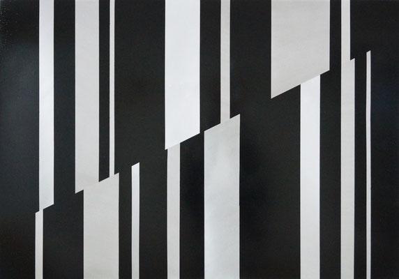 """o.T."", 2017, 70x100cm, Aluminium geschliffen, Lack"
