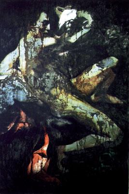 """Amor"", 84x125cm, 2002, Stahlblech, Rost, Transparentfarbe"