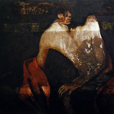 """Johannes der Täufer§2"", 2003, 1x1m Stahlblech, Transparentfarbe"
