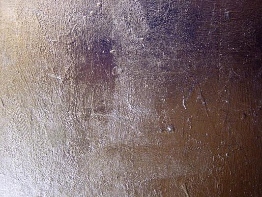 """o.T."", 2008, 80x120cm, Acrylfarbe auf Molino, Blatt-Aluminium, Detail"