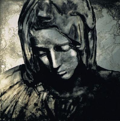 """Madonna"", 2001, 1x1m Stahlblech geschliffen, Transparentarbe, Rost"