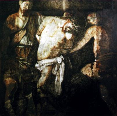 """""""Die Krönung"""", 100x100cm, Transparentfarbe, Rost, Stahl geschliffen, 2002"""