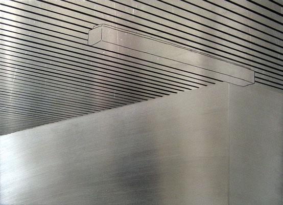 """""""o.T."""", 2007, 50x36cm, Alu blank, Alu geschliffen, Permanent-Marker, 2007"""
