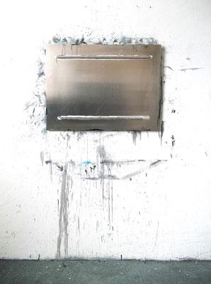 """""""o.T."""", Wandmalerei, Aluminium, Ausstellungsansicht, """"maze"""", WUK, Wien, 2014"""