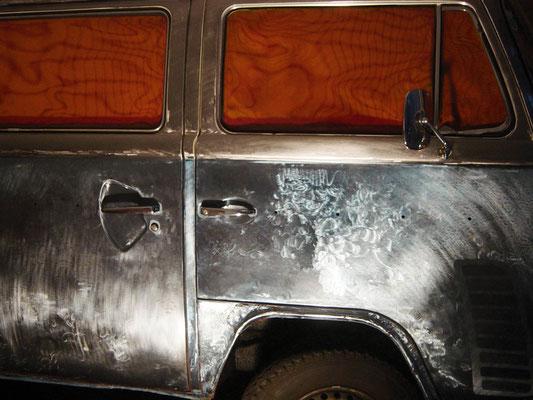 """""""GROSSE FREIHEIT"""", 2003/2004, VW-Bus, Bj. 77, Transparentfarbe, Einbrennlackierung"""