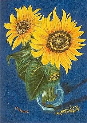 Sonnenblumen Pastellkreide auf Velourpapier