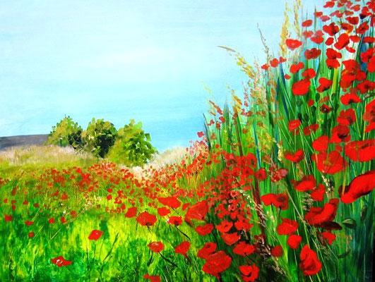 Mohnblüte Arcyl auf Leinen 60x80