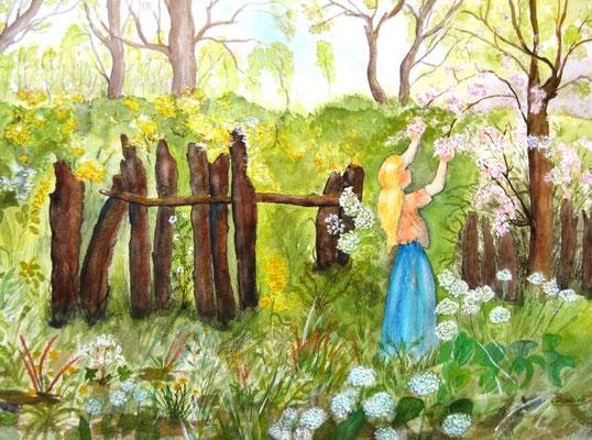 Alter Garten mit Mädchen