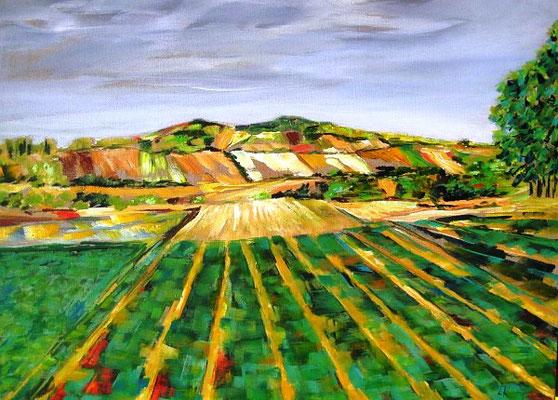 Landschaft im Weinviertel Arcyl auf Leinen 60x80