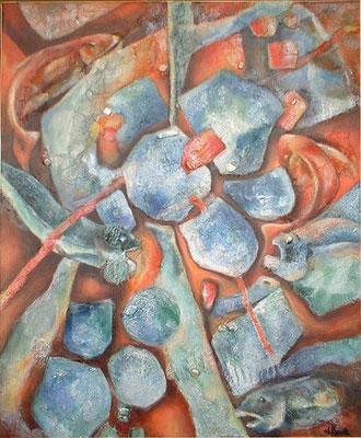 possons cachés - peinture contemporaine de Sylvie Boulet-disponible