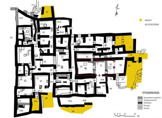 Les fouilles (en jaune) du palais de Zominthos. Crédit : Zominthos Project