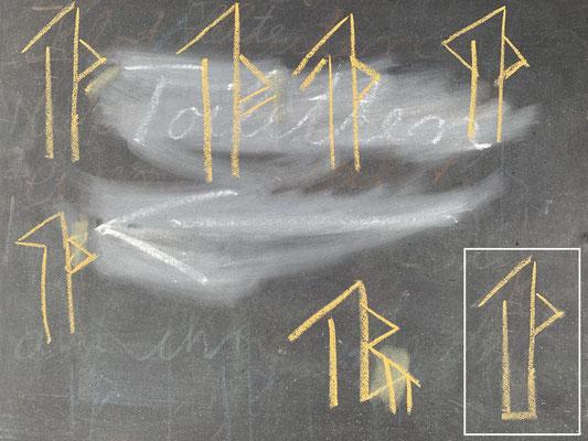 Mehrheitlich entscheidet sich die Gruppe für das Tamga unten rechts. Damit werden die Beuten in den Bäumen markiert.