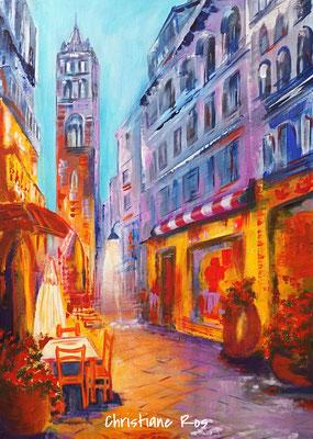 Straßencafé in Marbella - Acryl - 50 X 70 cm (vergeben)