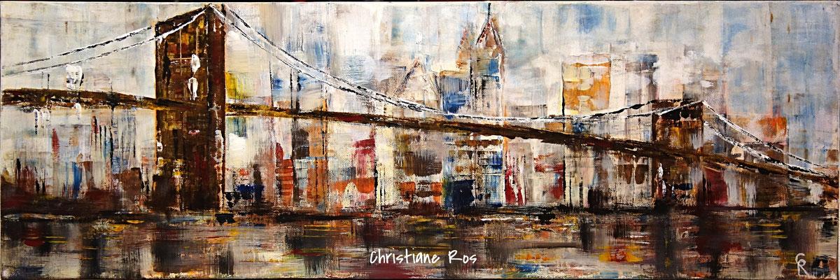 Brooklyn Bridge mit der Skyline von Lower Manhattan - Acryl - 40 X 90 cm (vergeben)