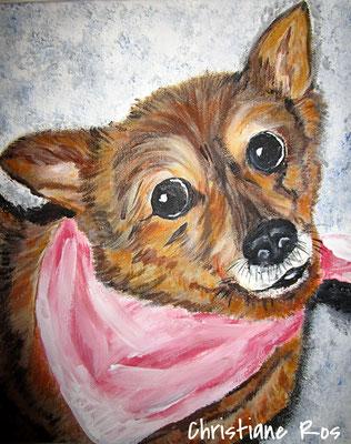 "Hundeporträt ""Rita"" - Acryl - 40 X 40 cm (vergeben)"