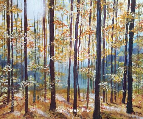 Herbstwald - Mischtechnik Aquarell/Acryl - mit Buntstiften bearbeitet - 50 X 60 cm