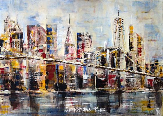 Brooklyn Bridge mit der Skyline von Lower Manhattan - Acryl - 50 X 70 cm (vergeben)