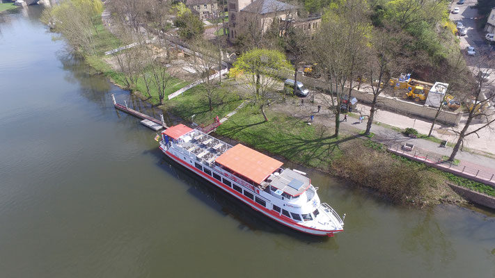 MS Händel II am Anleger Riveufer 5 / Ecke Rainstraße, 06114 Halle/Saale am 15.04.2018