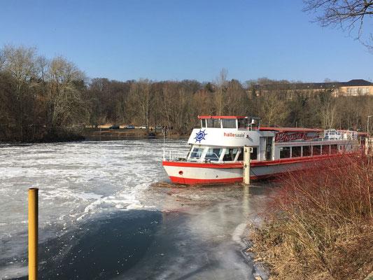 MS Händel II im März 2018, die Saale ist zugefroren