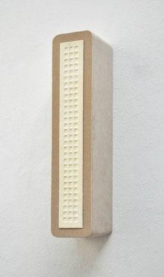 Casette, 2012, Holz, Metall, Fensterleder, Samt, 66 x 14 x 17 cm