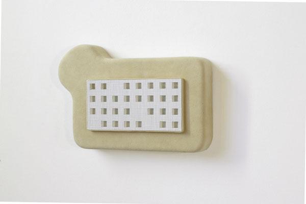ein -aus-blick, 2005, Styrodur, Leder, Akustikplatte, Klebefolie, 25 x 30 x 6 cm