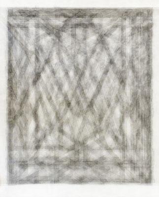 wien, sankt stephan, verschoben–gefaltet, Zeichnung auf Gazéstoff, 42 x 35 cm
