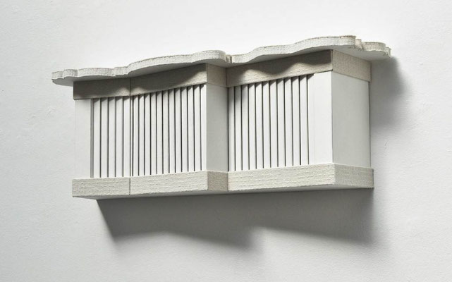 Orgel, 2012, Holz, Styrodur, Tischtuchdamast, Scheuerlappen, 44 x 118 x 28 cm