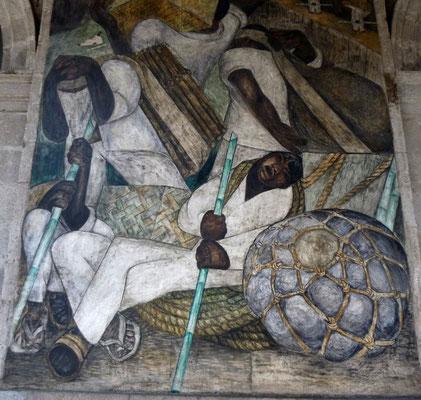 Les Porteurs, détail de fresque murale de Jean Charlot