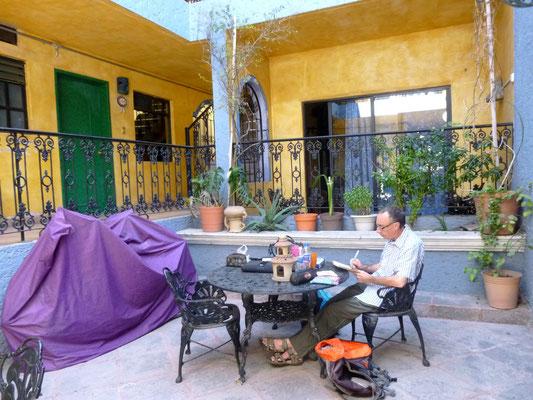 Dans le patio de notre hôtel à Queretaro