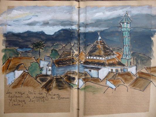 les vieux toits de Malang et le massif du Bromo dan les nuages (Frédérique)