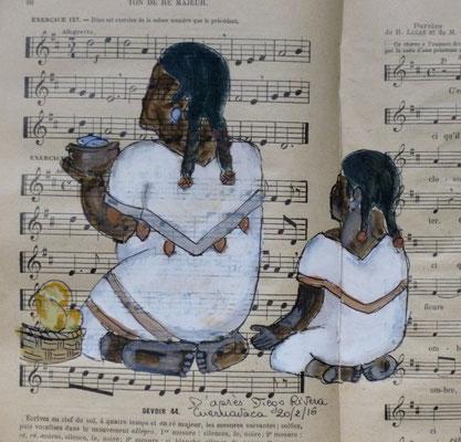 Croquis d'après une fresque de Diego Rivera, par Frédérique