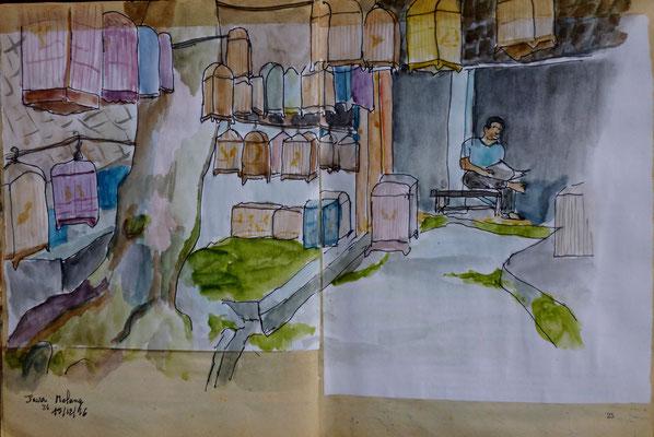 un coin du marché aux oiseaux par Daniel