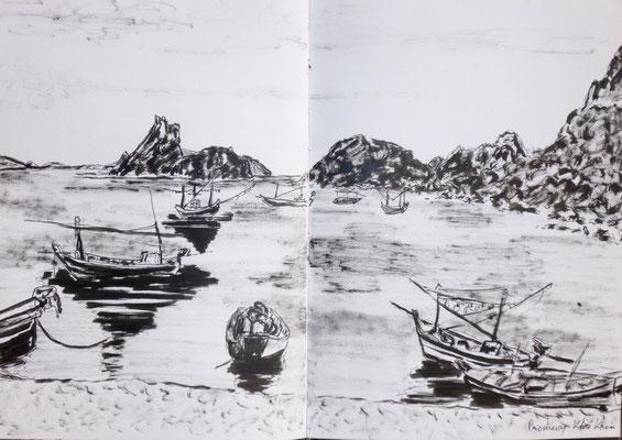 barques de pêches croquées par Daniel
