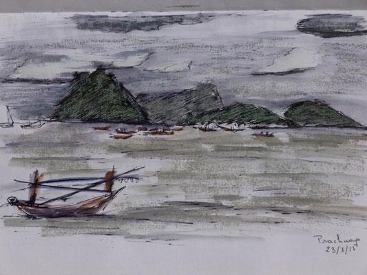 Encore des barques croquées par Frédérique