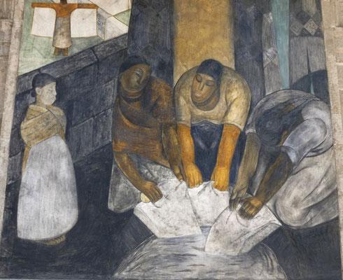 Les lavandières, détail de fresque murale de Jean Charlot