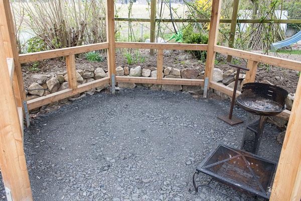 Bauplan Holz - Boden Grillpavillon, vorbereitet zur Pflasterung