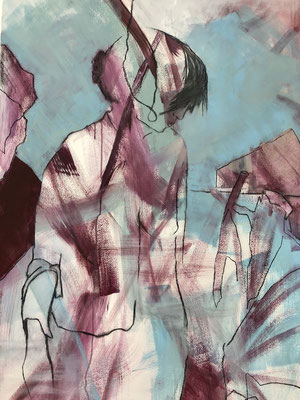 Kohle, Acryl auf Papier, 2021, 100 x 70 cm