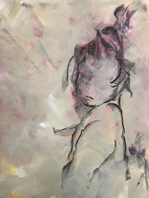 Acryl, Kohle auf Leinwand, 2018, 70 x 50 cm