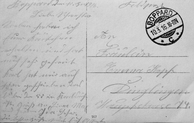 Der Text der Postkarte gehört zu dem Bild: ReserveLazarett Boppard Abteilung 3 Alumnat