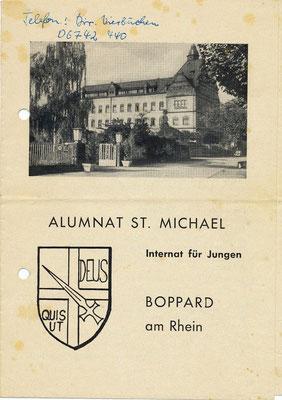 Alumnatsbroschüre etwa aus der Zeit zwischen 1963 und 1967