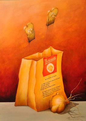 """Bel und Back, die beiden. © Wort: Laelia Kaderas, Malerei: Norbert Egdorf. """"Wort-Malerei"""" als """"Geschenk aus Worten""""."""