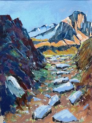 Nahe der Zufallhütte im Martelltal, Technik: Pastell auf gesandetem Karton, 41 x 31 cm