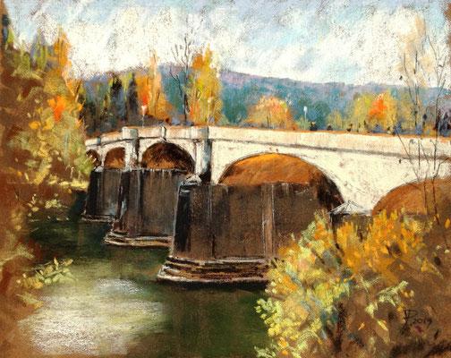 Brücke zur Insel Grafenwerth, 24 x 30 cm, auf Sennelier Pastel-Card