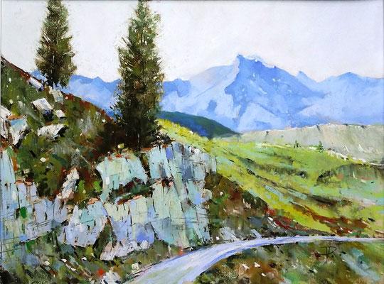 Nahe der Zufallhütte im Martelltal II, Technik: Pastell auf gesandetem Karton, 31 x 41 cm